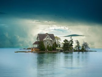 cabin on island isolated alone