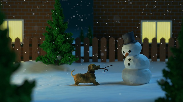 dog with stick in mouth from snowman's arm